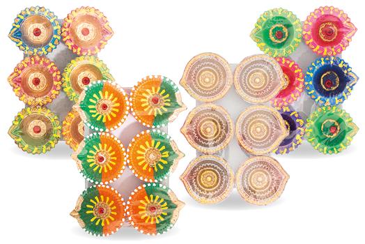 seMart Diwali Fancy Diya Clay Lamps Set of 6
